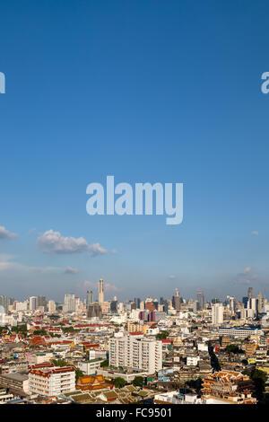 Panoramic city view from Grand China Princess Hotel, skyline, Baiyoke Tower, Chinatown, Bangkok, Thailand - Stock Photo