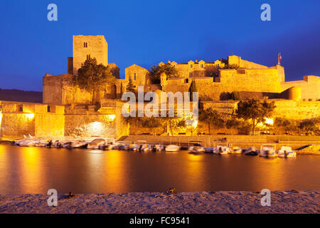 Chateau Royal and port, Collioure, Pyrenees-Orientales, Languedoc-Roussillon, France, Mediterranean, Europe - Stock Photo