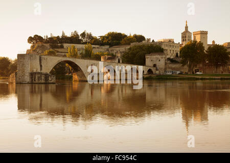 Bridge St. Benezet over Rhone River, UNESCO, Avignon, Vaucluse, Provence, Provence-Alpes-Cote d'Azur, France - Stock Photo