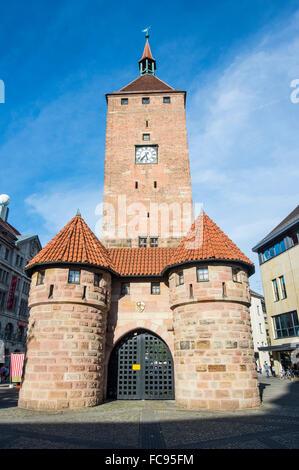 Weisser Turm (White Tower) in the pedestrian zone, Nuremberg, Bavaria, Germany, Europe - Stock Photo