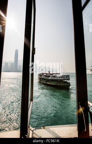 Star Ferry with Hong Kong in the background, Hong Kong, China, Asia - Stock Photo