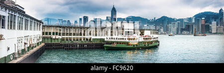 Hong Kong skyline from Star Ferry Terminal, Kowloon, Hong Kong, China, Asia - Stock Photo