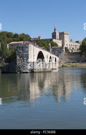 Pont St. Benezet, bridge on the River Rhone in the historic city of Avignon, UNESCO, Vaucluse, Provence, France - Stock Photo