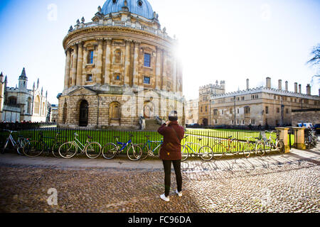 Radcliffe Camera, from St. Marys Church, Oxford, Oxfordshire, England, United Kingdom, Europe - Stock Photo