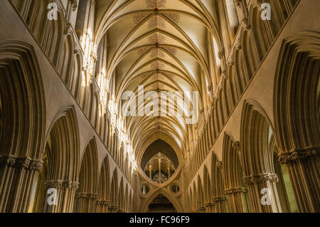 The interior of Wells Cathedral, Somerset, England, United Kingdom, Europe - Stock Photo