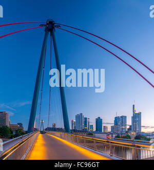 City skyline across River Main, Frankfurt am Main, Hesse, Germany, Europe - Stock Photo