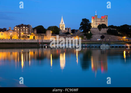 Rochester Castle and Cathedral on the River Medway at night, Rochester, Kent, England, United Kingdom, Europe - Stock Photo