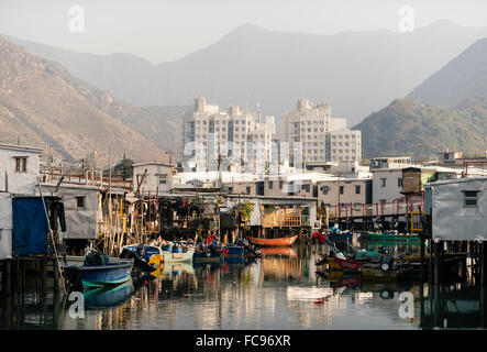 Canal scene, Tai O Fishing Village, Lantau Island, Hong Kong, China, Asia - Stock Photo
