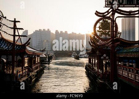 Aberdeen Harbour at sunset, Hong Kong Island, China, Asia - Stock Photo