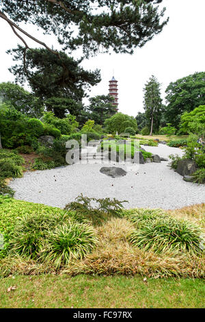 The Japanese garden with the Chinese pagoda in the background at Kew Gardens Royal Botanical Gardens London England - Stock Photo