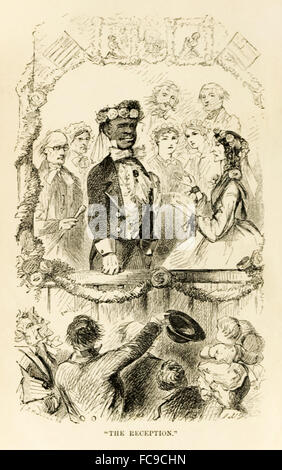 Frontispiece, 'The Reception' from 'The Ebony Idol' by Mrs G.M. Flanders (1800-1856) published in 1860 is a pro - Stock Photo