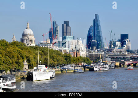 London, England, UK. London skyline - St Paul's and the city / River Thames seen from Waterloo Bridge - Stock Photo
