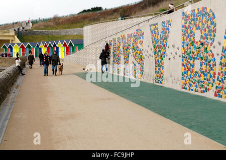 Climbing wall, Whitmore Beach, Barry Island, Vale of Glamorgan, South Wales, UK. - Stock Photo
