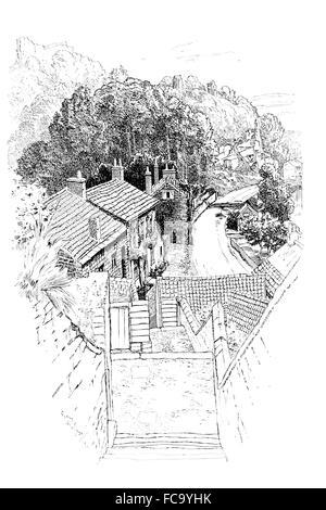 UK, England, Yorkshire, Knaresborough, Gallon Steps leading to Waterside, 1911, line illustration by Sydney R Jones - Stock Photo