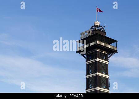 Copenhagen, Denmark - January 13, 2016:  Photograph of the observational tower in the zoo in Copenhagen. - Stock Photo