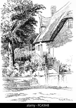 UK, England, Cambridgeshire, Shepreth, Thatched cottage, Angle Lane, River Shep in1911, line illustration by, Sydney - Stock Photo
