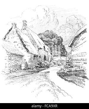 UK, England, Northamptonshire, Wilbarston, thatched cottage garden 1911 line illustration by, Sydney R Jones - Stock Photo