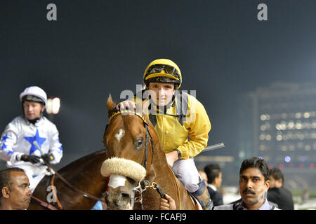 Dubai, UAE. 21st January, 2016. Christopher Hayes on Top Clearance, on thir way to the podium after winning the - Stock Photo