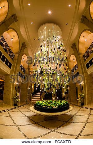 Chandelier in lobby of the Four Seasons Hotel Amman, Amman, Jordan. - Stock Photo