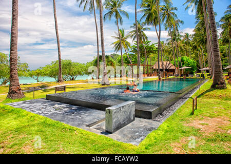 Hotel with swimming pool in Thian Og Bay; Koh Tao island; Surat Thani Province; Gulf thailand; South China Sea - Stock Photo