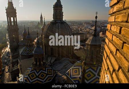 Zaragoza, Aragón, Spain: Basilica of Nuestra Señora del Pilar with the bell tower of 'La Seo' - Stock Photo