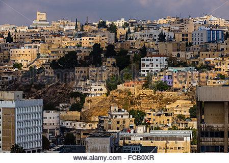 Views of the city from the Amman Citadel, Amman, Jordan. - Stock Photo