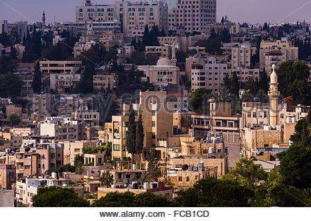 Views of the city from the Amman Citadel, Amman, Jordan. - Stock Photo