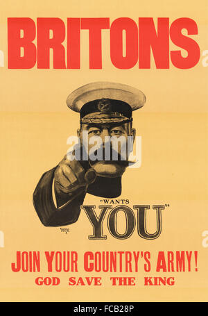 'Lord Kitchener Wants You' recruitment poster for the British army in WWI. It was originall designed as a front - Stock Photo
