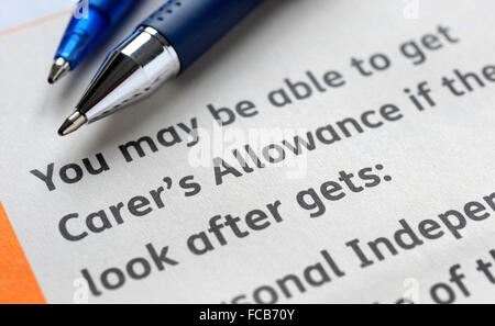 Attendance Allowance Information Form Re The Elderly Benefits