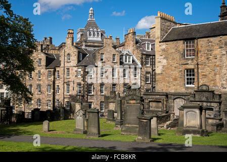 A corner of Greyfriars Kirkyard in Edinburgh's Old Town. - Stock Photo