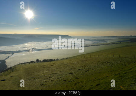 Frosty morning in the Cuckmere Valley. East Sussex. UK - Stock Photo