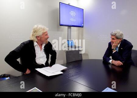Davos, Switzerland. 21st January, 2016. US Secretary of State John Kerry meets with Sir Richard Branson, founder - Stock Photo