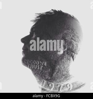 Double Exposure Of Man And Seal Against White Background - Stock Photo