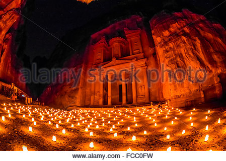 Petra by night (candlelit), The Treasury monument (Al-Khazneh), Petra archaeological site (a UNESCO World Heritage - Stock Photo