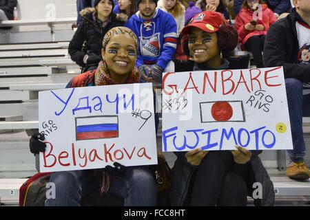 Brooklyn, New York, USA. 17th Jan, 2016. New York Riveters fans NWHL : NWHL (National Women's Hockey League) game - Stock Photo
