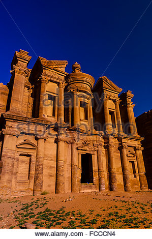 The Monastery (Ad-Dayr or Ad-Deir in Arabic) boasts a massive facade almost fifty metres square, Petra Archaeological - Stock Photo