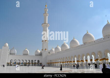 Sheikh Zayed Grand Mosque Against Cloudy Sky - Stock Photo