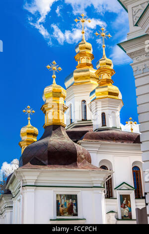 Ornate Crosses Gold Domes Church Birth Blessed Virgin Holy Assumption Pechrsk Lavra Cathedral Kiev Ukraine. - Stock Photo