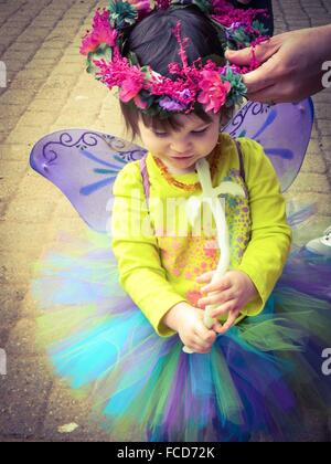 Cute Little Girl Dressed As Fairy - Stock Photo