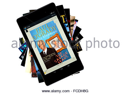 Paul O'Grady 2012 autobiography Still Standing, digital book cover on PC tablet, England - Stock Photo