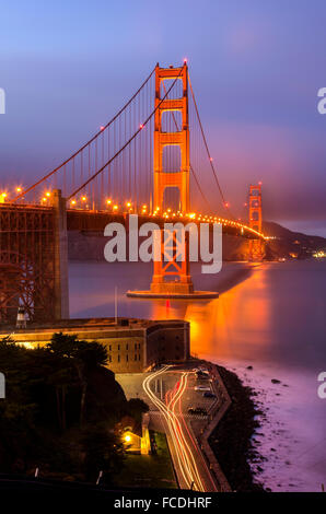 The famous San Francisco Golden Gate Bridge in California, United States of America. A long exposure of Fort Point, - Stock Photo