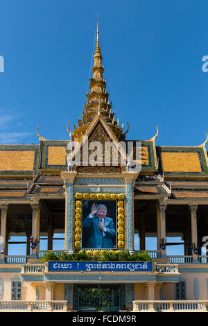 Preah Thineang Chan Chhaya, Moonlight Pavilion, detail with portrait of King Norodom Sihanouk, Chan Chaya, Royal - Stock Photo