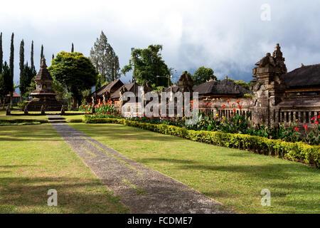 garden in Pura Ulun Danu water temple on a lake Beratan, Bali Indonesia - Stock Photo