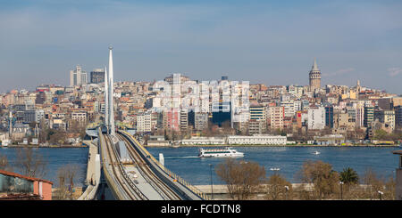 Beautiful view of Istanbul galata tower and bridge, Turkey - Stock Photo