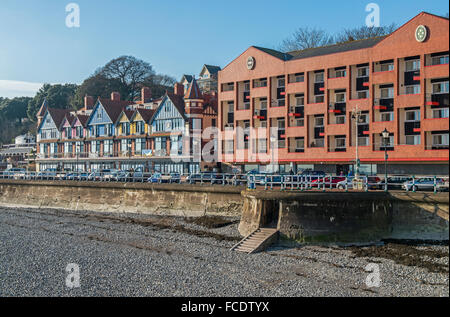 Penarth Esplanade in south Wales as viewed from the Penarth pier, on a sunny winter day - Stock Photo