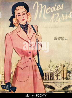 Cover of original vintage French fashion magazine Modes de Paris from 1940s dated 1st February 1947 - Stock Photo