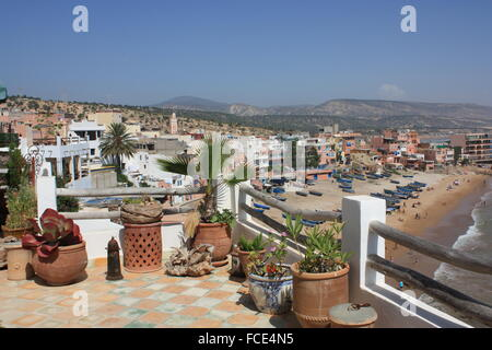 View Of Cityscape And Beach From Balcony - Stock Photo