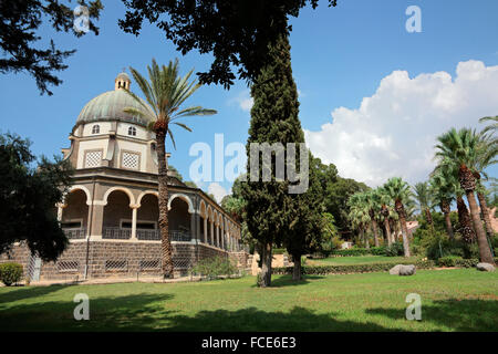 Catholic chapel on Mount of Beatitudes near Tabgha at the Sea of Galilee, Israel - Stock Photo