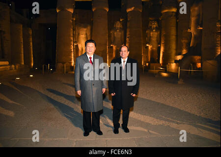 21 January 2016 - Luxor, Egypt - Chinese President Xi Jinping (L) in Egypt for a two-day visit to discuss bilateral - Stock Photo