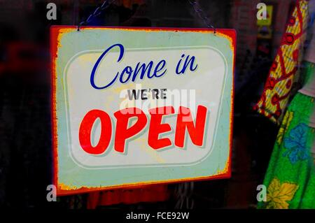 OPEN sign on a shop´s door. - Stock Photo